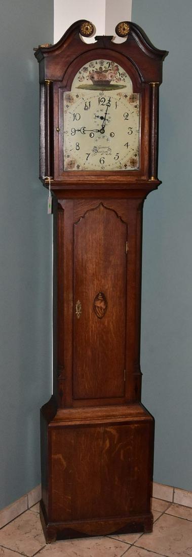 English Provincial Oak Tall Case Clock