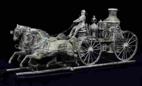 Victorian Molded Copper Fire Pumper Weathervane