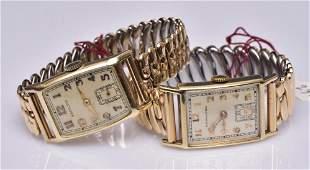 Two 14k Gold Hamilton Wrist Watches