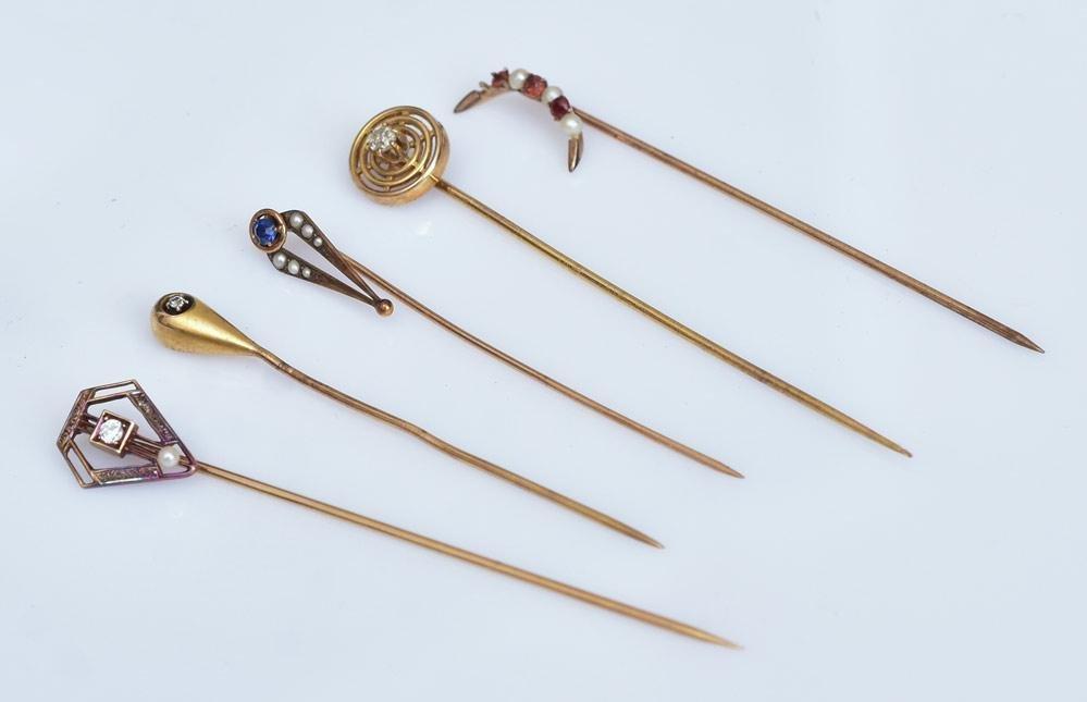 Five Victorian Gold Stick Pins