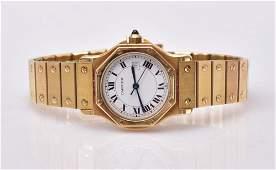 Cartier 18k Gold Santos Wrist Watch