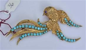 18k Gold Persian Turquoise Bird Brooch