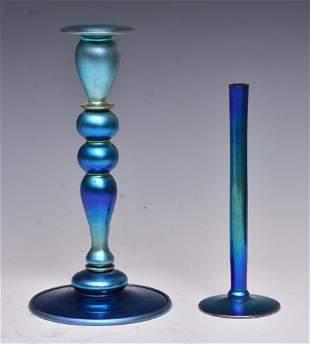 Steuben Blue Vase and Candlestick