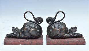 French Bronze Bookends