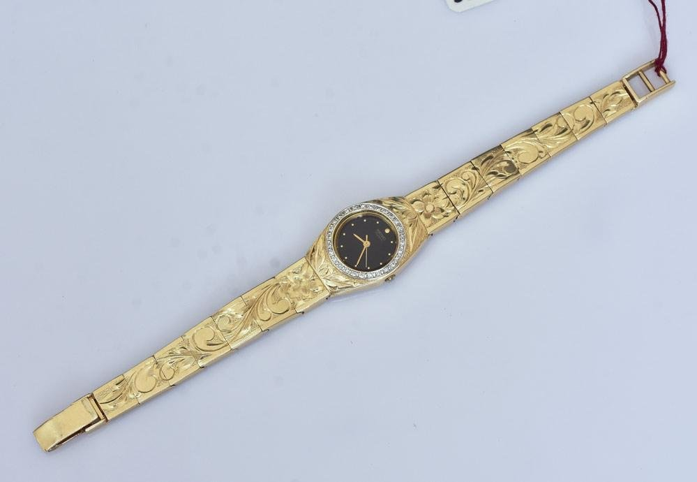 14k Gold Diamond Ladies Wrist Watch