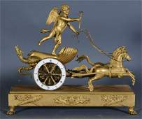 235: 1 FRENCH EMPIRE BRONZE CHARIOT CLOCK with silk sus