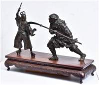 Japanese Meiji Bronze Grouping