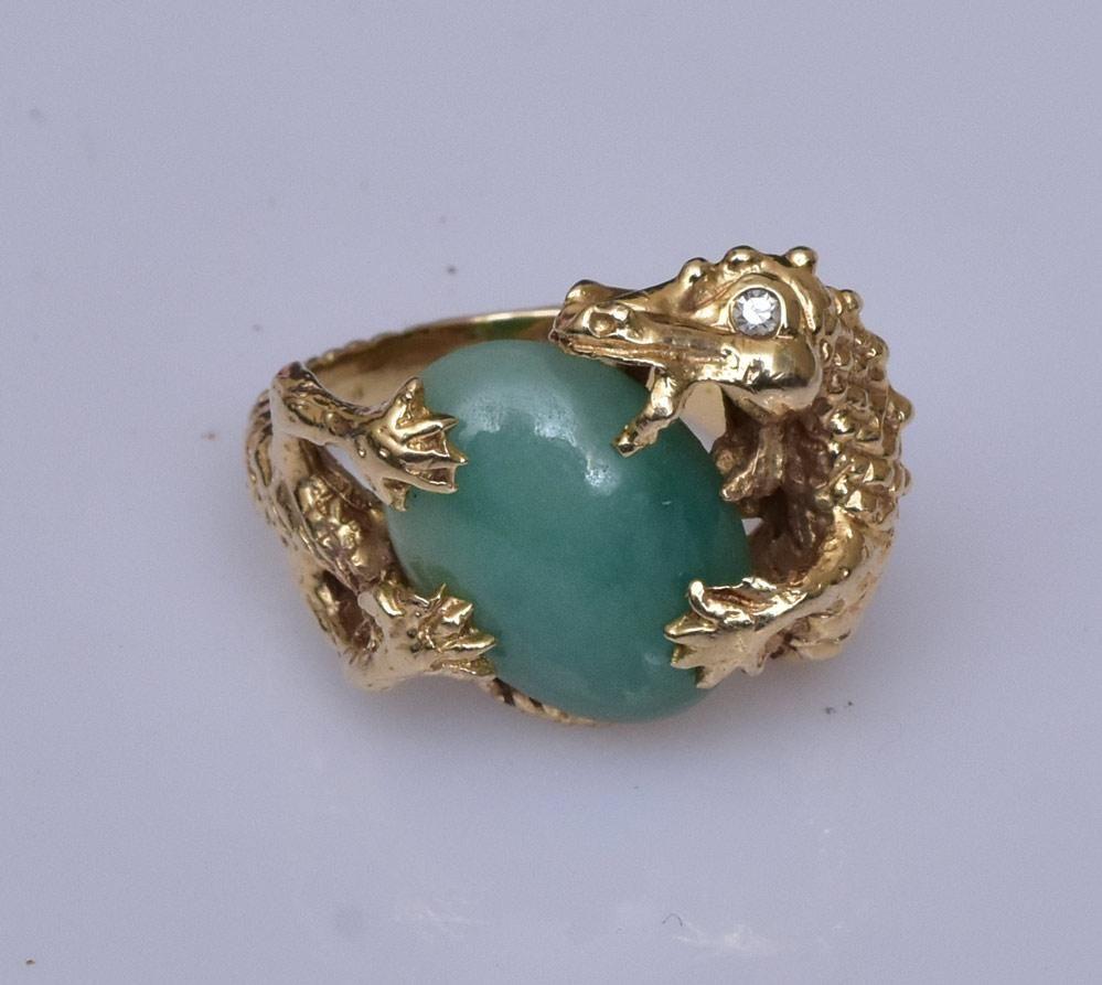 """Chinese 14k Gold Jade """"Dragon"""" Ring"""
