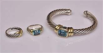 David Yurman Bracelet and Two Rings