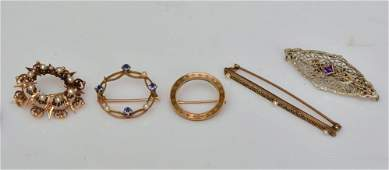 Five Victorian 10k and 14k Gold Brooches