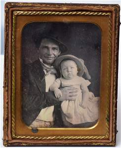 Quarter Plate Daguerreotype, Father and Child