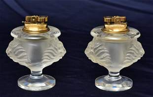 Two Lalique Tete de Lion Cigarette Lighters