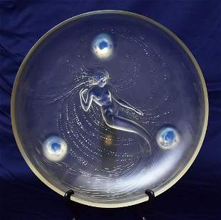Lalique Trepied Sirene Centerpiece Charger