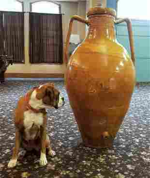 Large French Glazed Pottery Dispenser
