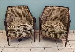Pair Baker Upholstered Arm Chairs