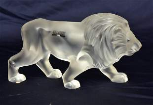 Lalique Frosted Glass Regulus Lion