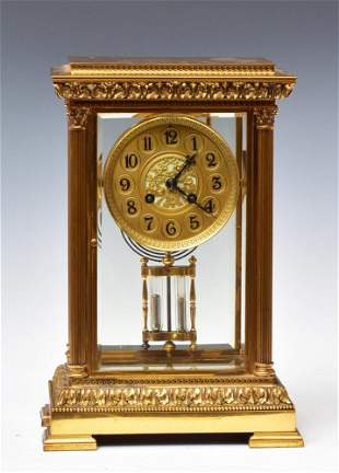 French Bronze Crystal Regulator Clock