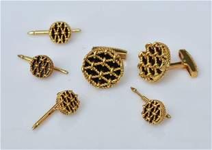18k Gold Tiffany & Co Cufflinks and Stud Dress Set