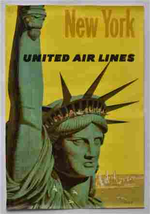New York United Airlines Travel Poster