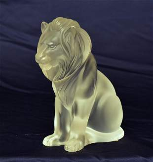 Lalique Frosted Crystal Bamara Lion
