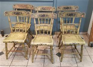 Set of Six Sheraton Stencil Decorated Chairs