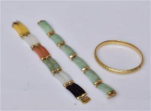 Two 14k Gold Chinese Bracelets