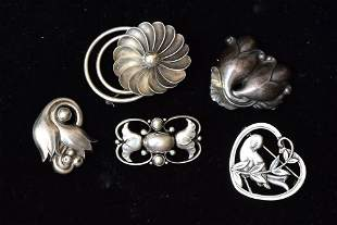 Sterling Silver Brooches (5)