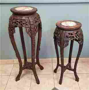 Two Chinese Export Carved Plant Stands