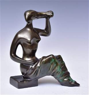 Hungarian Art Deco Pottery Figure of a Woman