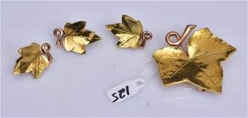 Cartier 14k Two Tone Gold Grape Leaf Earrings
