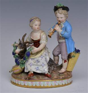 Meissen Porcelain Figures with a Goat