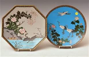 Two Japanese Meiji Cloisonne Plates