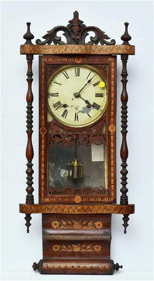 American Inlaid Scroll Wall Clock