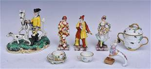 Continental Porcelain Figures and Meissen Tea Cups