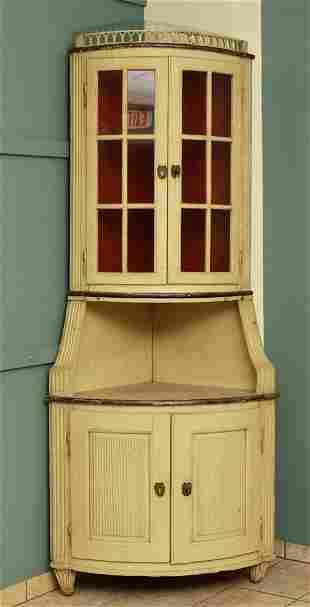 Gustavian Painted Corner Cupboard