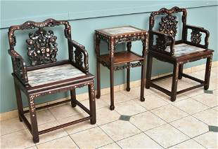 Chinese Inlaid Mother of Pearl Chairs and Table