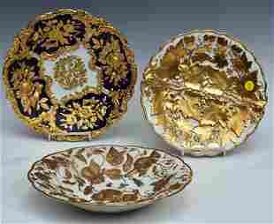 Three Meissen Porcelain Gilt Plates