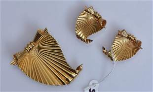 attributed to Cartier Brooch and Earring Set