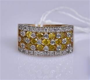 14k Gold White and Yellow Diamond Ring