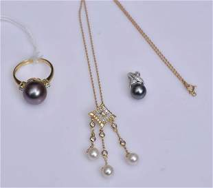 14k Gold Pearl and Diamond Jewelry