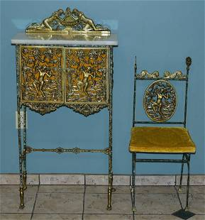 attributed to Oscar Bach Iron and Brass Cabinet