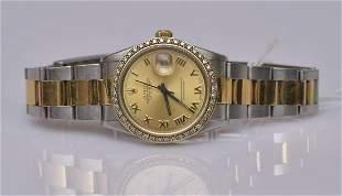 Rolex Two Tone Diamond Ladies Wrist Watch