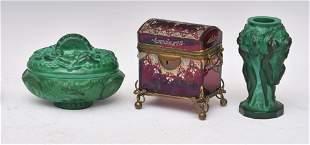 Czech Malachite Glass Vase and Box