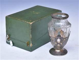 Risler & Carre Silver Overlay Etched Crystal Vase