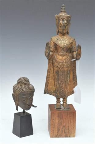 South East Asian Gilt Bronze Figure and Head