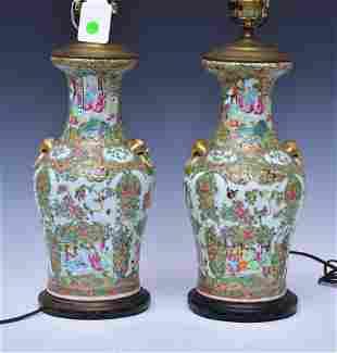 Pair Rose Medallion Porcelain Lamps