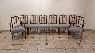 Regency Inlaid Dining Chairs - Set of Eight