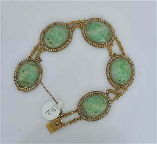 14k Gold Chinese Carved Jade Bracelet