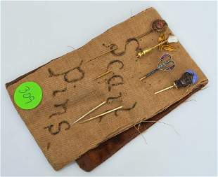 Four Victorian Stick Pins & 10k Gold Ring