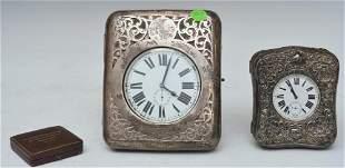 Two Nickel Silver Travel Clocks